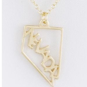 Gold Nevada state necklace