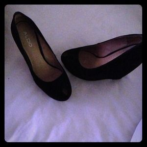 Aldo black suede wedges