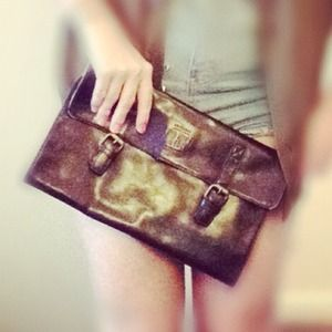 CREW NWOT chocolate brown soft leather clutch
