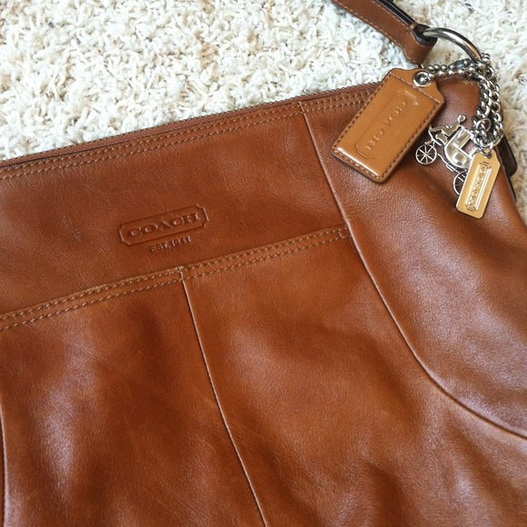 55 off coach handbags just reduced coach cognac leather handbag from liz 39 s closet on poshmark. Black Bedroom Furniture Sets. Home Design Ideas
