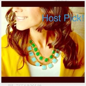 3X HOST PICK Blue, green & gold necklace