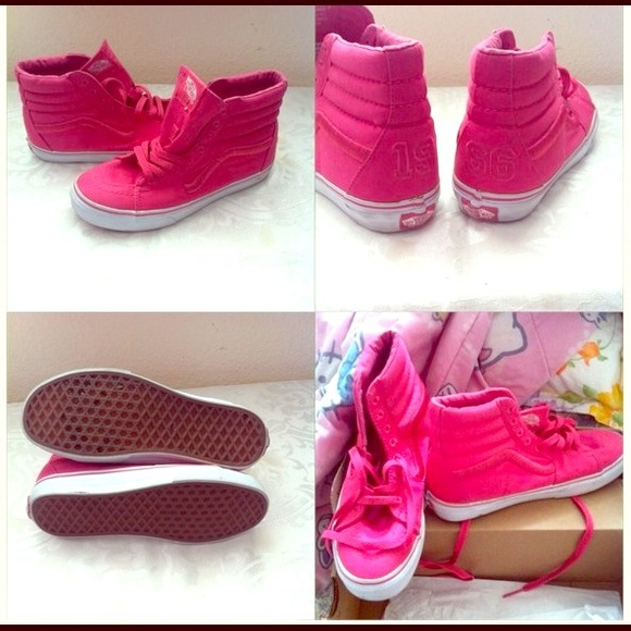 0a9a0b06 💢HOLD💢Hot Pink High Top Vans Shoes