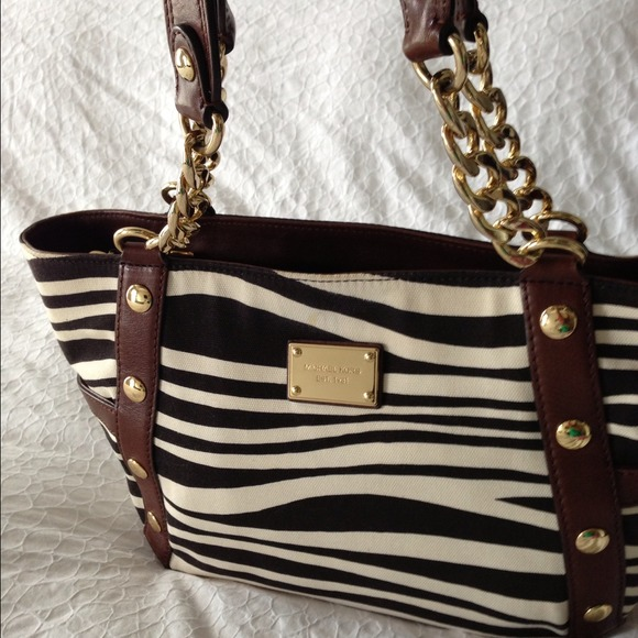 d6fb4960a0234d ... Michael Kors Bags - Michael Kors zebra canvas and brown leather purse  ...