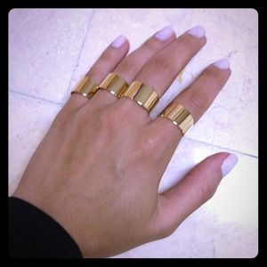 Set of 4 adjustable knuckle rings - gold