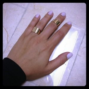 Set of 2 adjustable knuckle rings - gold