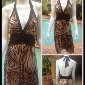 Animal print halter dress
