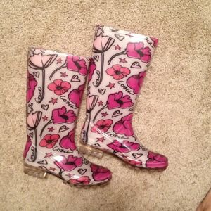 Coach Poppy floral rain boots / galoshes sz 6