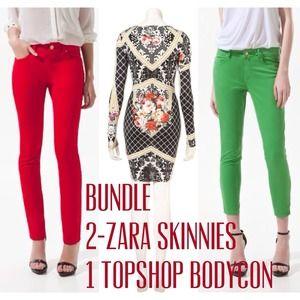 ✨Bundle✨ 2 Zara Skinnies & Topshop Bodycon