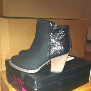 New black leather glittered booties