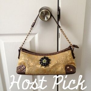 Apt 9 Handbags - Host Pick - Damask Handbag w/ Bronze Brooch Detail