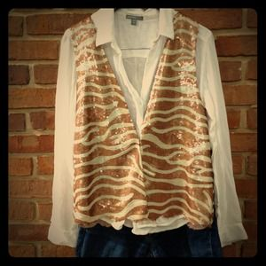 Brown zebra tribal sequin sparkler vest gatsby