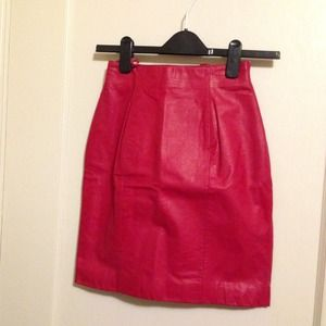 Lipstick Red Leather Pencil Skirt