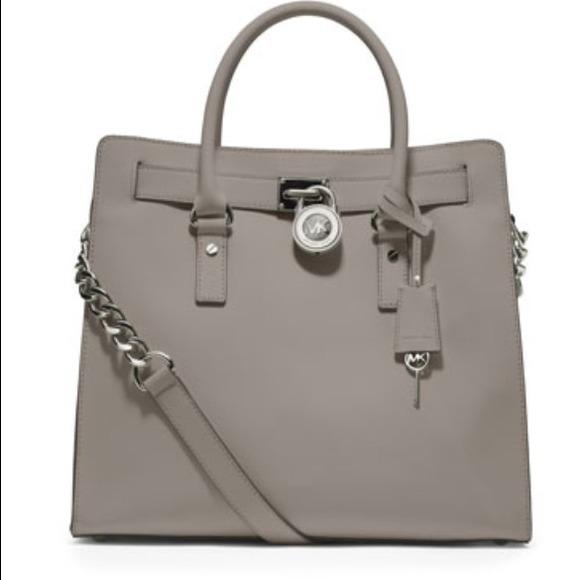 a3926de249bd MICHAEL Michael Kors Bags | Mk Large Pearl Grey Hamilton Saffiano ...