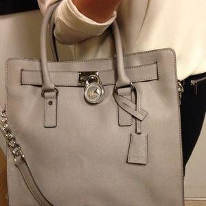 db9b7c9a3d32 MICHAEL Michael Kors Bags - MK Large Pearl Grey Hamilton Saffiano Tote