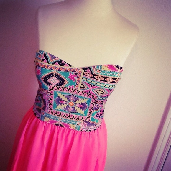 18% off Dresses & Skirts - ** SOLD ** Tribal Print Bustier   Neon ...