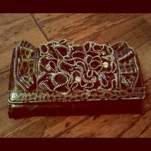 Black Zipper&Rhinestoned Wallet