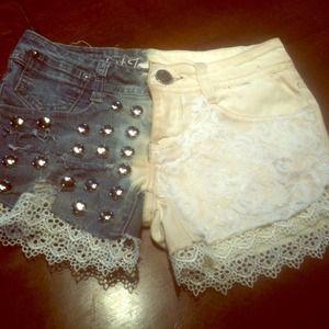 Denim - DIY studded lace shorts!! Made myself