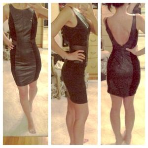 *REDUCED HOST PICK* Leatherette mesh bodycon dress