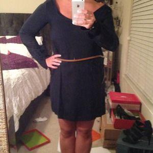 Navy/black Zara belted dress M