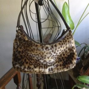 Old Navy Bags - BUNDLED Old Navy Leopard faux fur bag  Like New