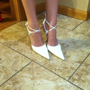 White heels with ankle straps