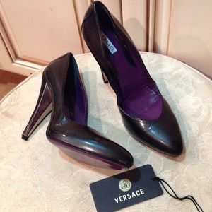 Versace black shoes Sz 38.5