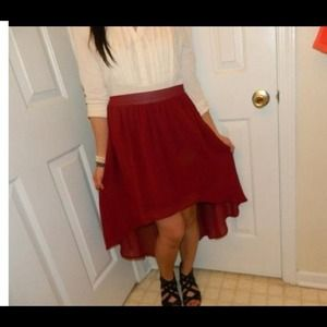 Red high-low skirt