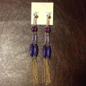 Purple Fringe & Bead BoHo Glam Gold Chain Earrings