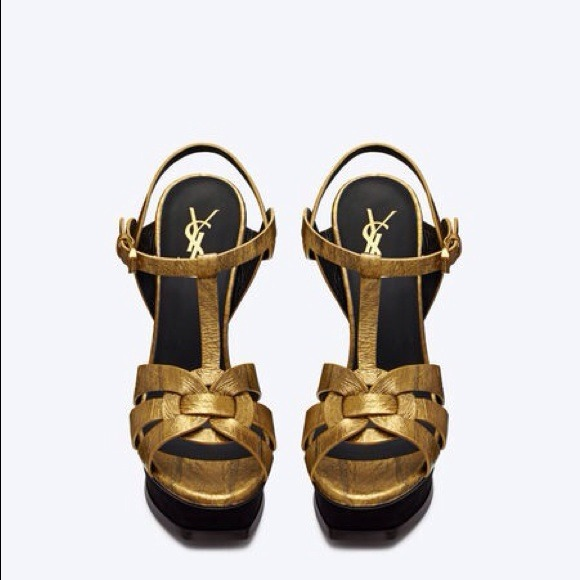 f8bc6f2fd76 📢REDUCED👠YSL Tribute Metallic Gold  Black NIB