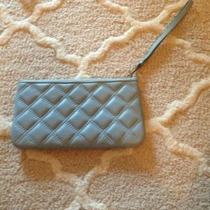 Marc Jacobs pale blue leather quilted wristlet