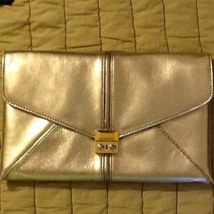 Henri Bendel Gold Metallic Clutch