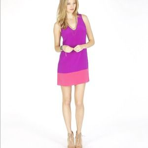 100% Silk Rory Beca Colorblock Dress: Sz S