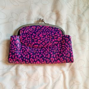 Pink leopard leather clutch/wallet. New.
