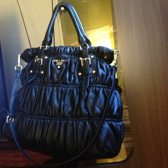 prada handbags cheap - 45% off Prada Handbags - Prada nappa gaufre ruched leather tote ...