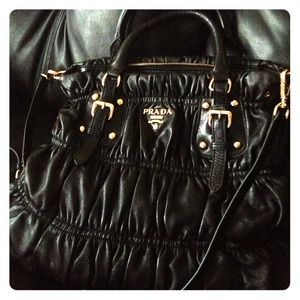 Prada nappa gaufre ruched leather tote bag -black