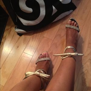 two lips Shoes - Two lips cut out/zig zag  gold wood lace up wedge