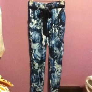Blue and black floral silk pants