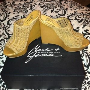 Badgley Mischka brown wedges