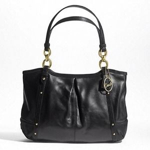 🔴SOLD🔴COACH ALEXANDRA CHAIN BLACK LEATHER TOTE