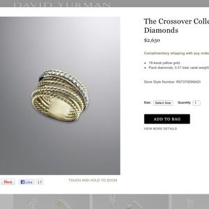 DAVID YURMAN Crossover Ring Diamonds 18k Gold