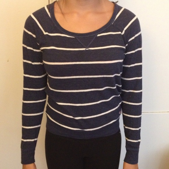 40% off Hollister Sweaters - Navy blue and white striped sweater ...