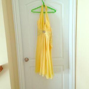 Bright yellow silk and chiffon halter dress. Size8