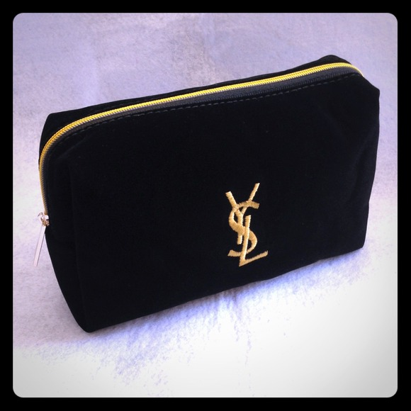 ❤YSL black velvet makeup bag clutch pouch gold 9c9926b0196f7