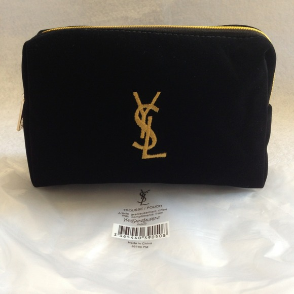 Yves Saint Laurent Ysl Black Velvet Makeup Bag Clutch