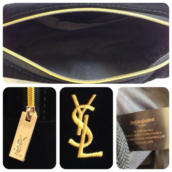 Yves Saint Laurent - ?YSL black velvet makeup bag clutch pouch ...