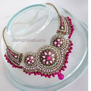 Pink&Gold Beaded Statement Necklace &Earring Set