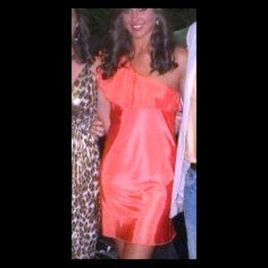 Dresses & Skirts - Orange one shoulder party dress.