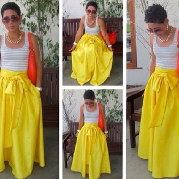 Yellow Maxi skirt with pockets and bow. L from Basha's closet on ...