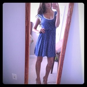 Dresses & Skirts - Navy and white polka-dot dress