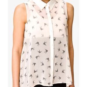 Forever 21 Tops - 🚫SOLD🚫Dove Print High Low Shirt
